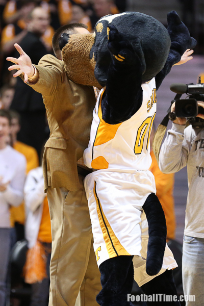 Jones gives Smokey a chest bump. Photo by Reed Carringer